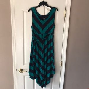 Isabel maternity green blue chevron maxi dress L